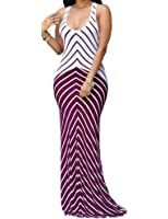 shekiss Women's Casual Sexy Summer Sleeveless Striped Bodycon Bandage Club Long Maxi Dress with Plus Size Floor Length