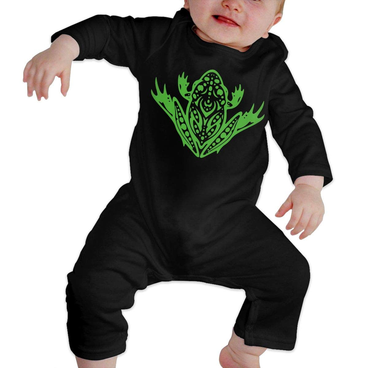 LBJQ8 Tribal Leopard Frog-2 Toddler Baby Girls Organic Cotton Jumpsuit Overall Romper