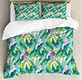 Ambesonne Watercolor Duvet Cover Set King Size, Exotic Jungles of Hawaii Inspired Fresh Green Leaves Tropical Plants Art, Decorative 3 Piece Bedding Set with 2 Pillow Shams, Green Pink White
