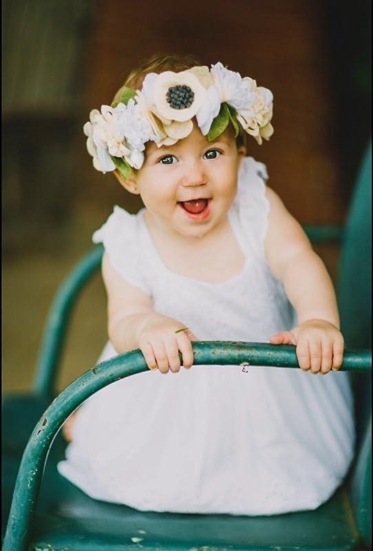 christening band Baby flowercrown Baby flower headband christmas gift blush newborn flower headband christening tieback flower crown