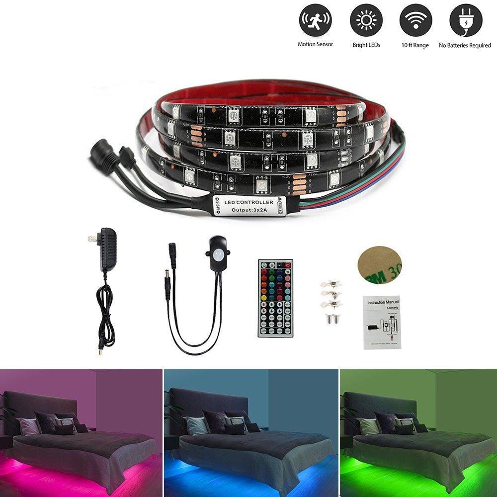LEHOU Motion Bed Light LED Strip, Motion Sensor Night Light Bedside Lamp Illumination RGB Color Include Warm Color, Stick Anywhere, Auto Shut Off Timer Kitchen Cabinets Bedroom Under Bed Lights