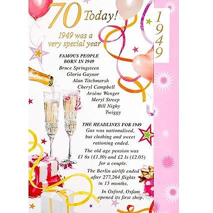 Tarjeta de felicitación de cumpleaños para mujer, 70 años de ...