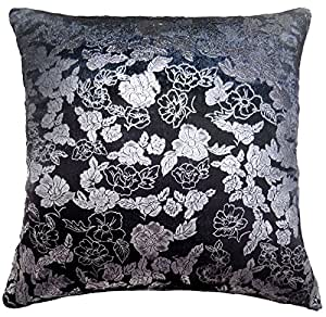 "2 X METALLIC FLORAL FLOWER SOFT VELVET LUXURY SILVER GREY CUSHION COVERS 17"" - 43CM"