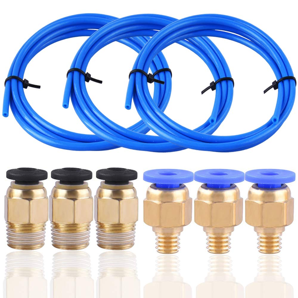 SIQUK 3 Pieces Teflon Tube PTFE Blue Tubing(1.5 Meters) with 3 Pieces PC4-M6 Fittings and 3 Pieces PC4-M10 Male Straight Pneumatic PEFE Tube Push Fitting Connector for 3D Printer 1.75mm Filament