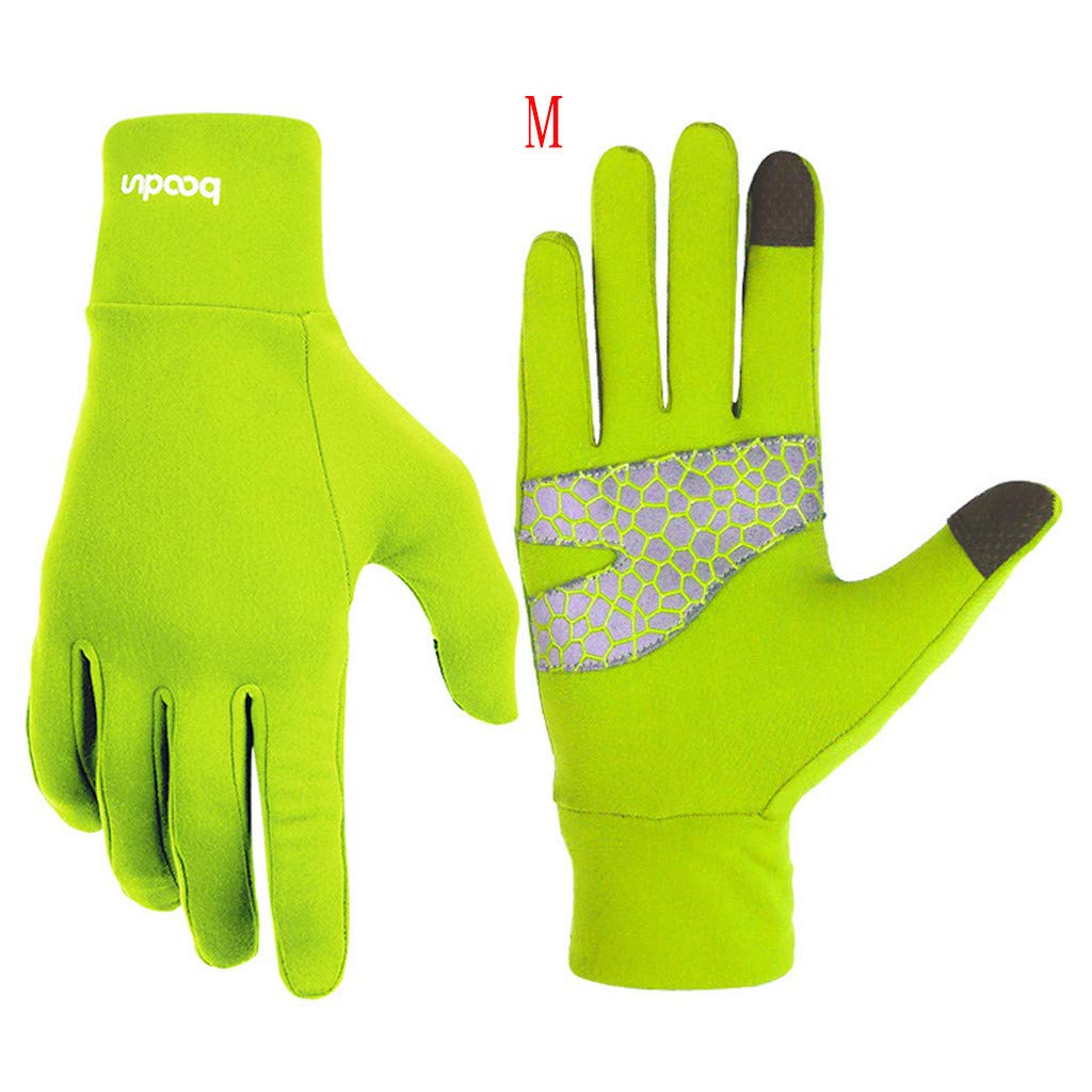 Unisex Winter Gloves, Warm Thermal Gloves Running Gloves Cold Weather Gloves Driving Riding Cycling Gloves Outdoor Sports Gloves for Men and Women (Green, M)