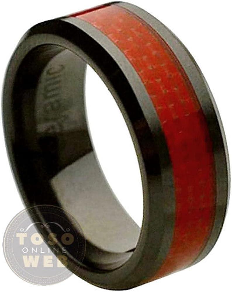 Mens 8mm Beveled Edge Black Ceramic Ring w// Red Carbon Fiber Inlay Center Comfort Fit Wedding Band s12