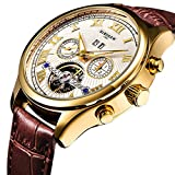 BINSSAW Men's Tourbillon Automatic Mechanical Watch Fashion Brand Brown Leather Watches Sports Wristwatch