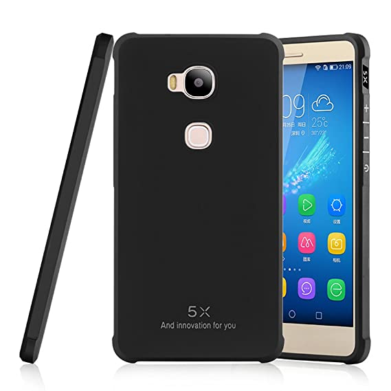 più recente 57cfd 474a8 Huawei Honor 5x Case , Lwang Shockproof Ultra Slim Soft Silicone Protective  Case for Huawei Honor 5x Cases (Black)