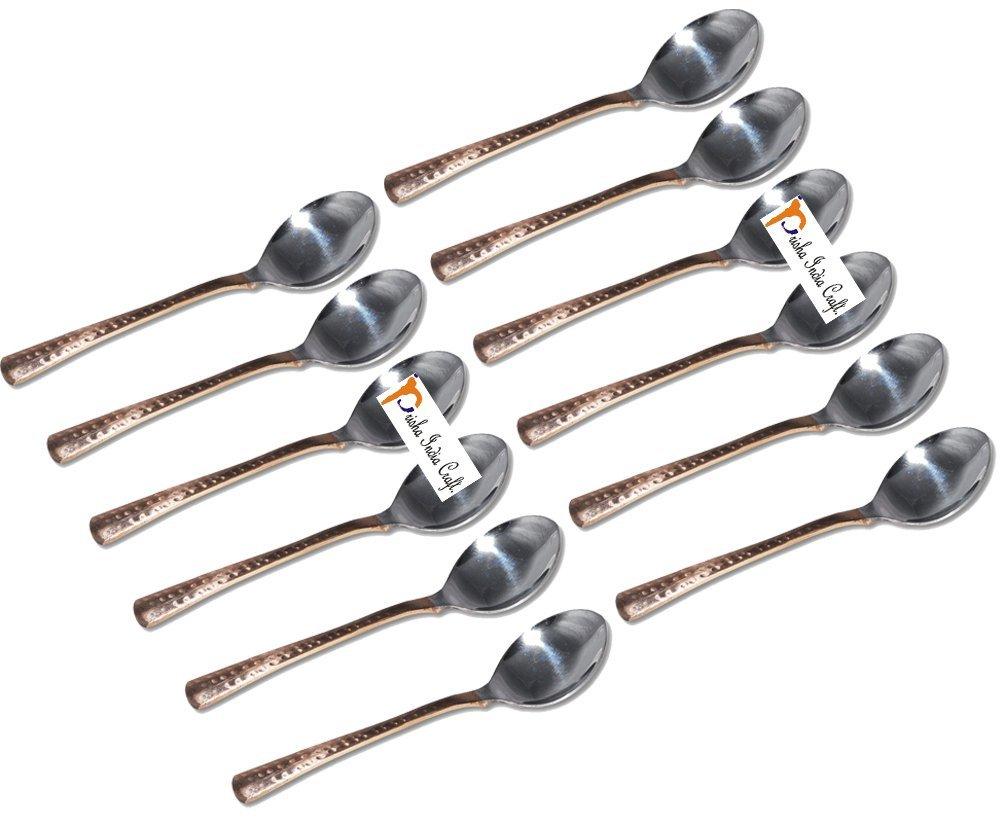 セットof 12 PrishaインドCraft ®高品質ハンドメイドスチール銅テーブルスプーン、Hammered Designed銅スプーン長7.00インチ、銅食器類accessories-クリスマスギフト   B01FJZHDXM