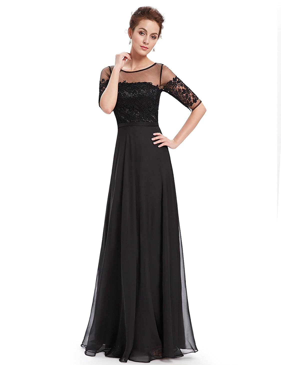 c0a59d2c8b16a2 Ever-Pretty Womens Floor Length Three-Quarter Sleeve Evening Dress 08459 at  Amazon Women's Clothing store: