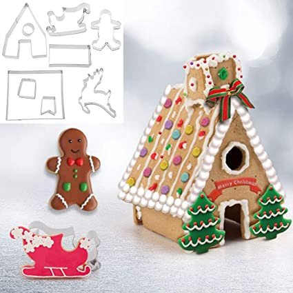 Amazon Com 9pcs Christmas Gingerbread House Cookie Stainless Steel