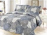 Modern Circle Printed Bedding 3 Piece Bedspread Quilt Set, Queen