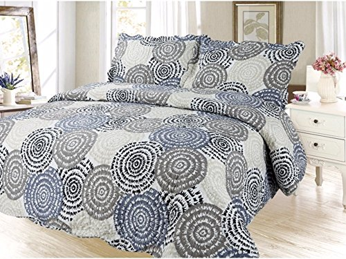 Modern Circle Printed Bedding 3 Piece Bedspread Quilt Set, Queen by sazana