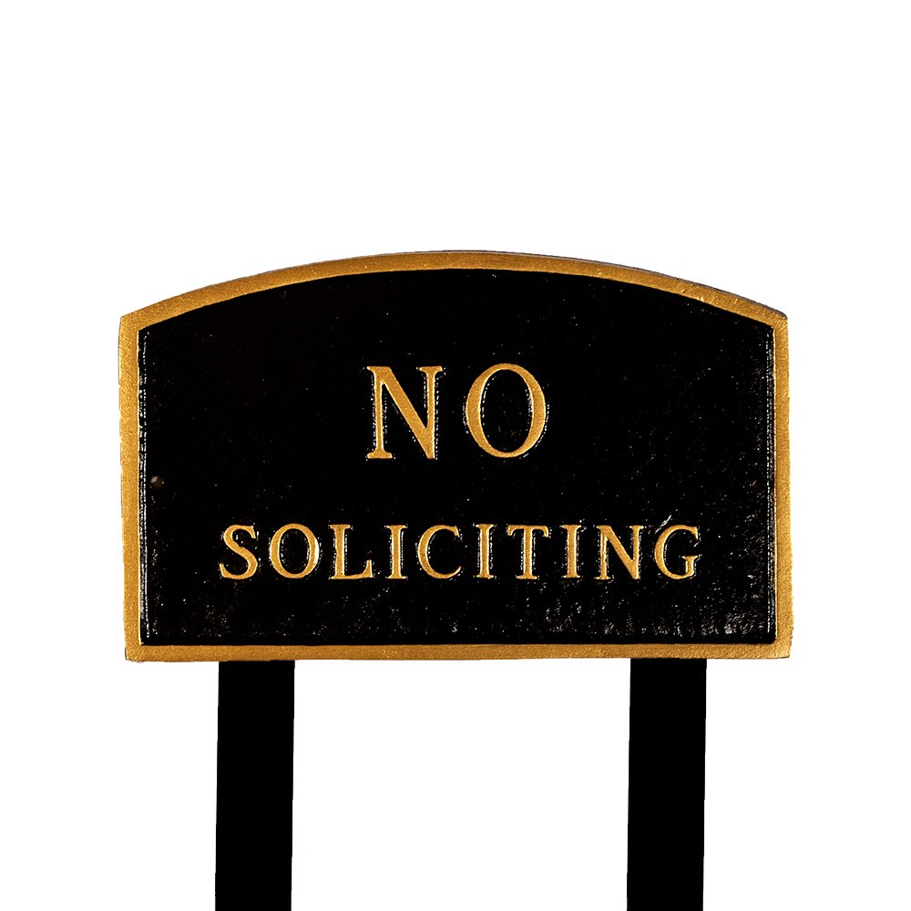 Montague Metal Products SP-10L-BG-LS Large Black and Gold No Soliciting Arch Statement Plaque with 2 23-Inch Lawn Stakes