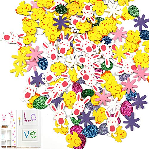 Xushop 320 Pieces Easter Foam Stickers Self Adhesive Animal Shape Decals Glitter Egg Stickers for Easter Crafts Scrapbooking Favors(Fuhuo)