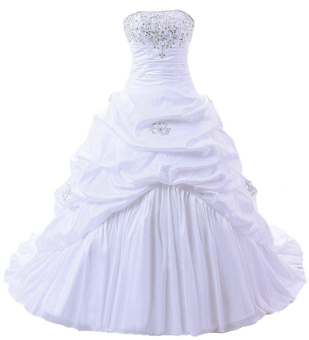 White Vantexi Women's Strapless Aline Wedding Dress Bridal Gown