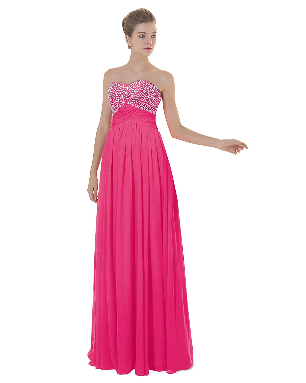 Hot Pink ANGELWARDROBE Empire Beaded Sweetheart Neck Prom Gowns Long Evening Dresses Party Skirts