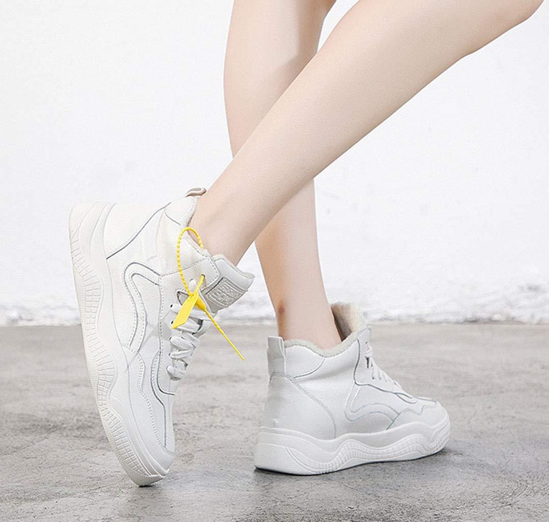 Frauen Baumwolle Schuhe Leder Flache Unterseite Dicke Dicke Dicke Ferse Wedges Sportschuhe Schnür-Fleece gefüttert hohe Schuhe Herbst und Winter Weiß 38EU 583e8d