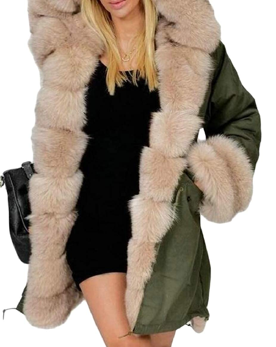 4 pujinggeCA Women's Parka FauxFur Collar Thick Outdoor Quilted Down Jacket Coat