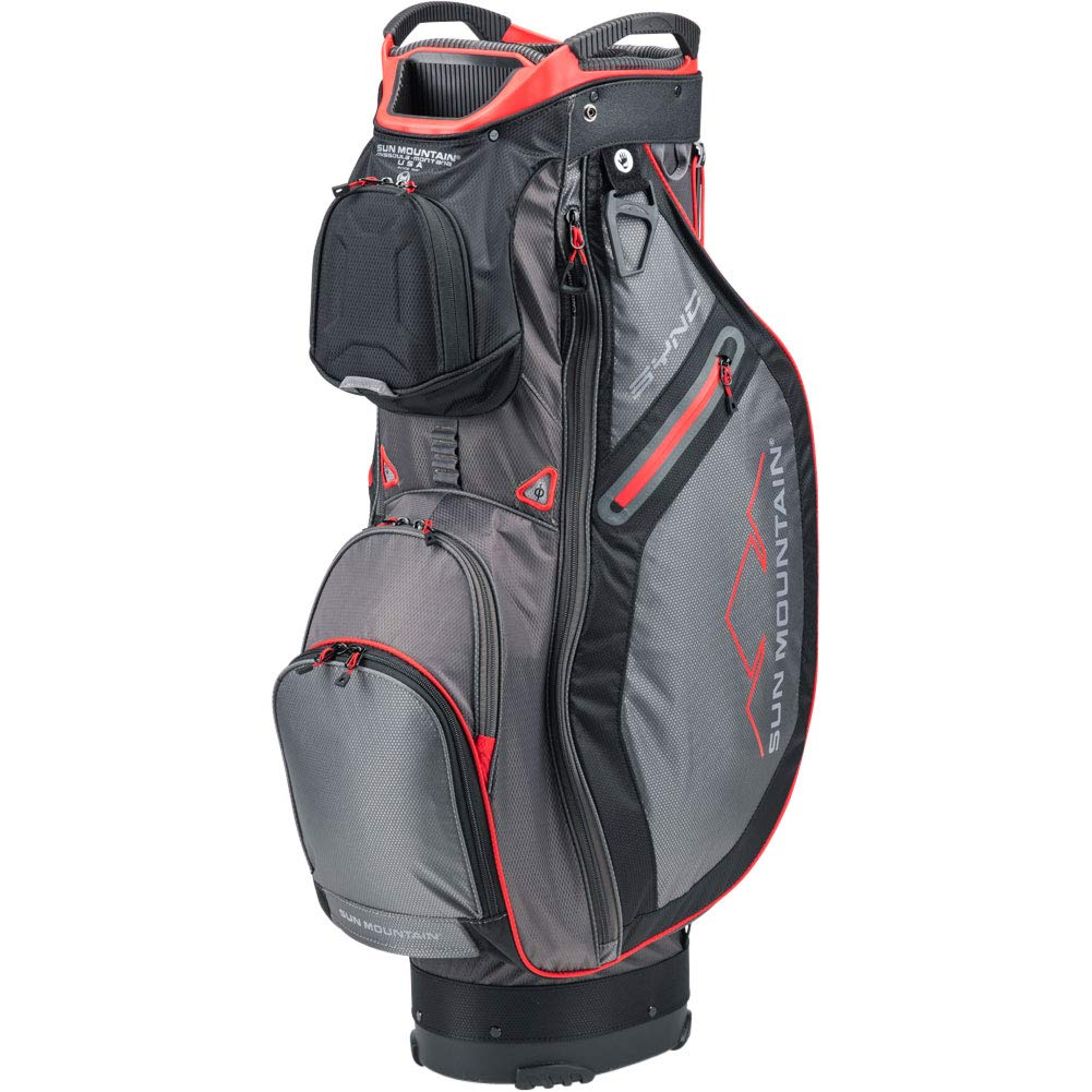 Sun Mountain 2020 Sync ゴルフカートバッグ GUNMETAL-黒-赤