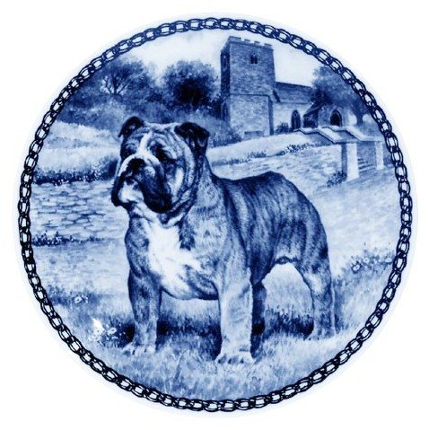 English Bulldog   Lekven Design Dog Plate 19.5 cm  7.61 inches Made in Denmark NEW with certificate of origin PLATE  7304