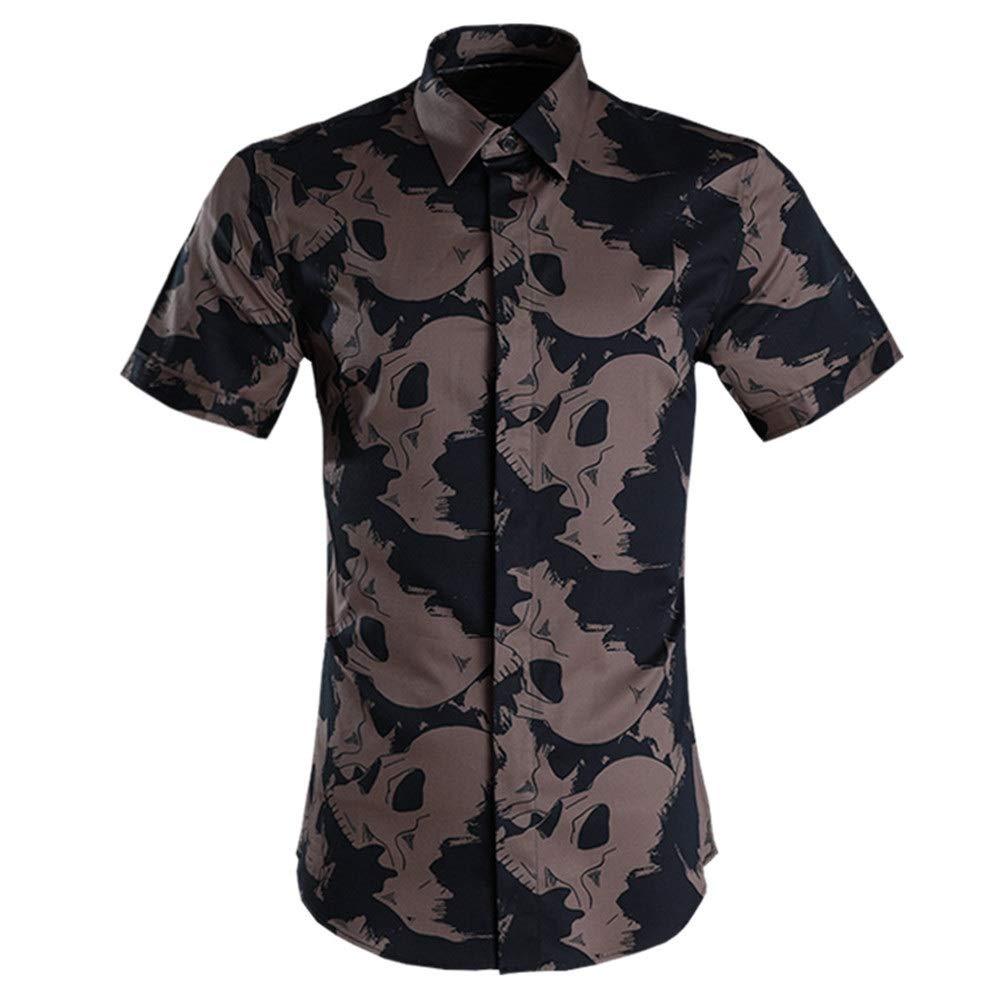 Marron XX-grand Ouqian-Shirts Chemise à Manches Courtes pour Hommes Chemise d'été à Manches Courtes et à Manches Courtes pour Homme Chemise Décontracté Plage Tropicale Vacances (Couleur   Blanc, Taille   M)