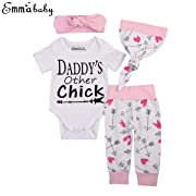 Newborn Girls Clothes Baby Romper Outfit Pants Set Long Sleeve Winter Clothing (0-6Months, White(Short Sleeve))