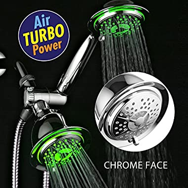 DreamSpa® All Chrome 3-way LED Shower Head Combo with Air Jet LED Turbo Pressure-Boost Nozzle Technology. Color of LED lights changes automatically according to water temperature