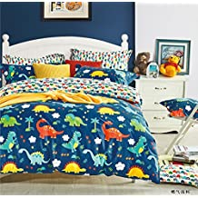 Cliab Dinosaur Bedding Blue Queen Size for Kids Boys 100% Cotton 7 Pieces