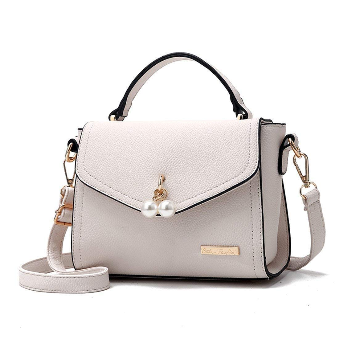 Moontang Damen Leder Handtasche Schulter Hobo Crossbody Square Perle Perle Perle Handtaschen (Farbe   Weiß, Größe   -) B07H782YDN Clutches Ein Gleichgewicht zwischen Zähigkeit und Härte 5b8b33