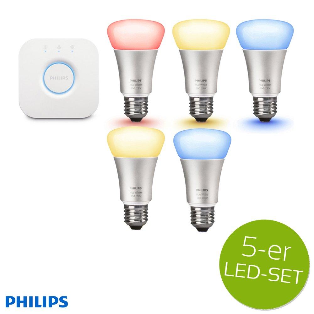 Philips Hue LED Lampe 10W A60 E27 3-er Starter Set inkl. Bridge + 2x Erweiterung = 5 Leuchtmittel, app-gesteuert, dimmbar, 16 Mio Farben
