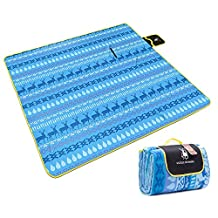 """Picnic Blanket, Tsumbay Large 79"""" x 79"""" Outdoor Picnic Blanket with Soft Fleece Waterproof Backing Picnic Rug Camping Beach Mat, Easy To Fold, Perfect for Beach, Travel, Picnic Camping - Blue"""