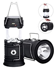 Portable LED Camping Lantern Flashlights, KATEGY Rechargeable Brightest Solar LED Lamp Outdoor Camping Gear Equipment Accessories for Hiking, Emergencies, Hurricanes, Outages