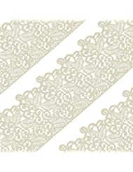 Funshowcase Large Pre-Made Ready to Use Edible Cake Lace Leaf Scroll Ivory White 14-inch 10-piece Set