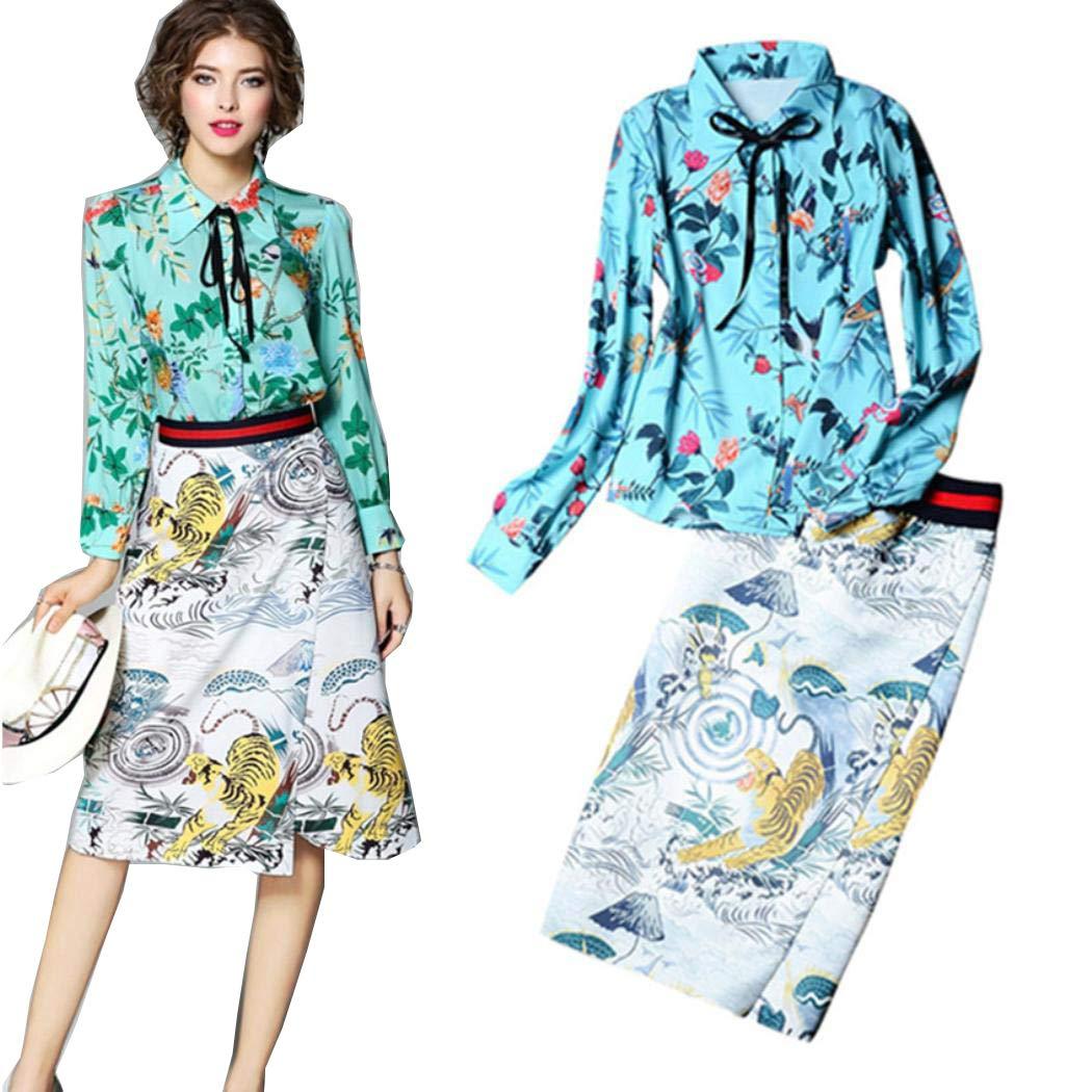 VCENIS 2 Piece Women Spring Lace Up Blouses Tops Vintage Retro Floral Print Cut Skirt Suits