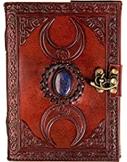 Urban Leather Book 3 Moon Celtic Book of Shadows & Magic Spells - Lapiz Lazuli Blue Stone Studded Bullet Journal Drawing Sketchbook Scrapbook Notepad, Vintage Writing Notebook, Unlined Paper