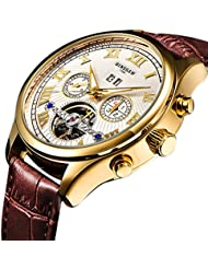 BINSSAW man tuo flywheel automatic mechanical watch gold dial fashionable watch brown leather sport mens watch.