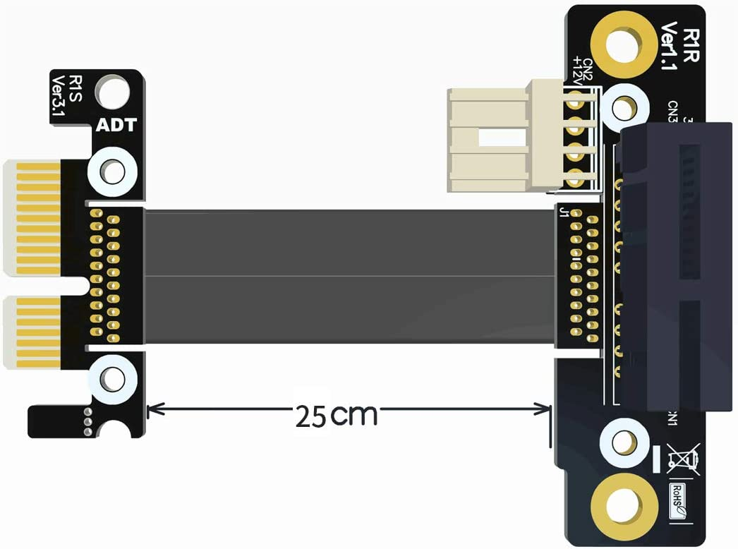 with Power Cable ADT-Link Riser PCIe 3.0 x1 to x16 Graphics Card Right Angle Extension Cable 25cm R11SR PCI-E 1x 16x Gen3 with Power Line for Mining