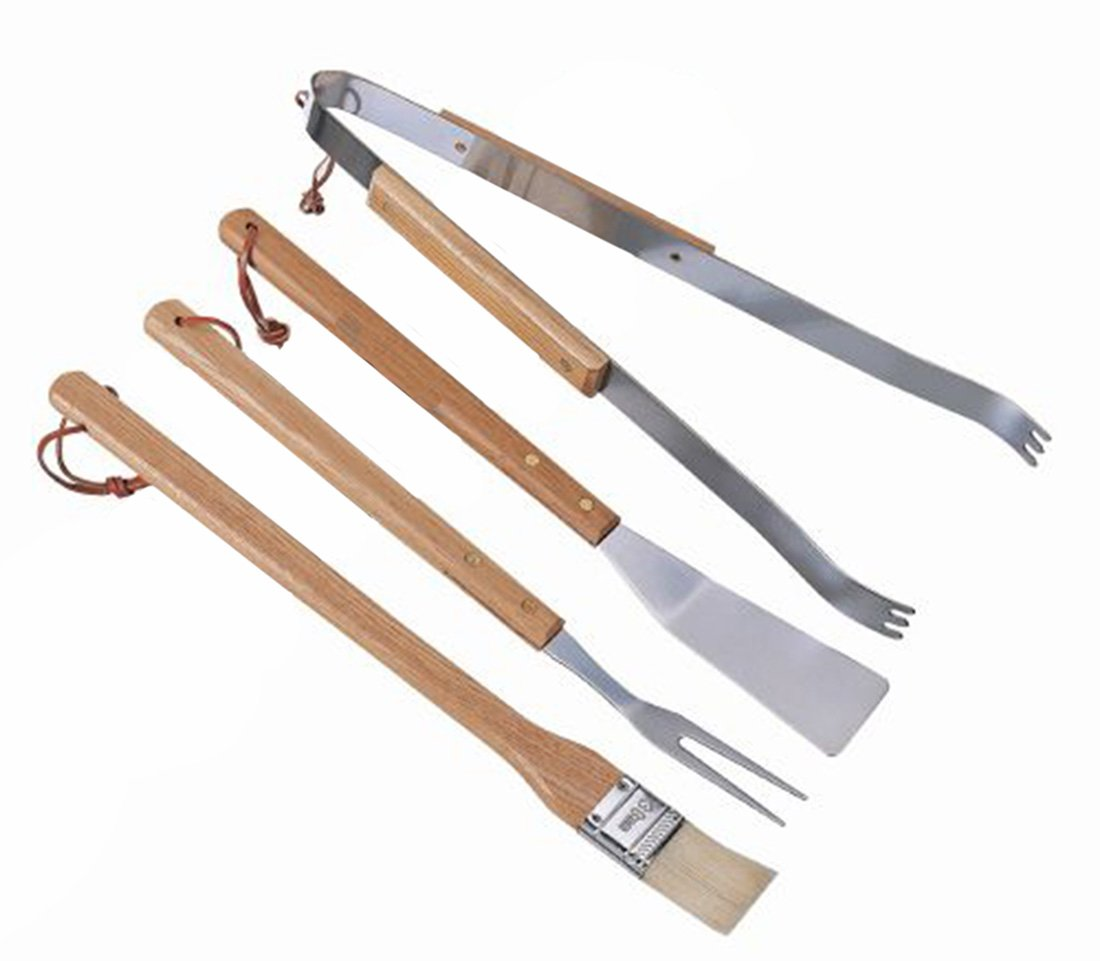 Barbecue 4 Pcs Set In Brush, fork, spatula and tongs