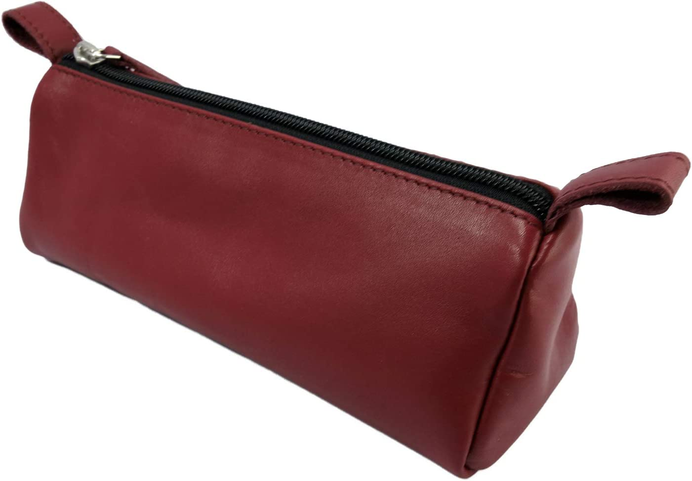 Burgundy Zippered Pen Pouch for School Leather Pencil Case Work /& Office from AurDo