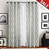 "Grey Moroccan Tile Print Curtains for Bedroom Curtain - Quatrefoil Flax Linen Blend Textured Geometry Lattice Grommet Window Treatment Set for Living Room - 50""W x 63""L - (2 Panels)"