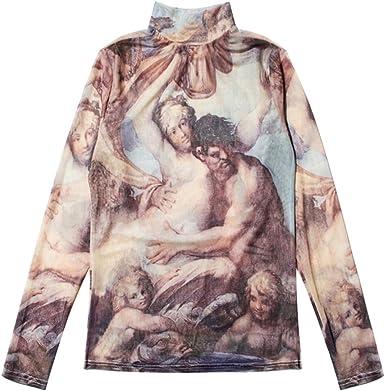 qiansu Mujer Camiseta Barroco Pintura al óleo Impresión Pullover Sexy de Tul en Perspectiva Cuello Alto Estampado Blusa: Amazon.es: Ropa y accesorios