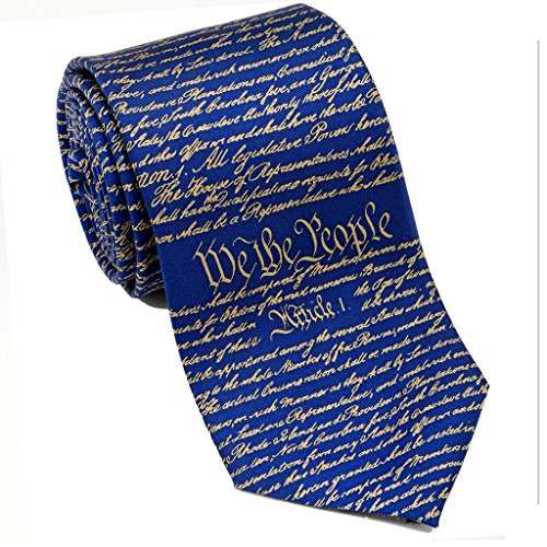 Josh Bach Mens Constitution of United States Silk Necktie Blue Gold, Made in ()