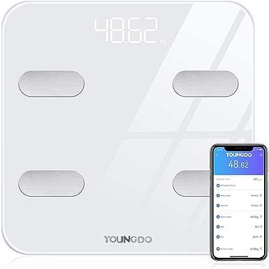 Bascula de Baño Digital Grasa Corporal - 30 * 30cm, YOUNGDO Balanza Bluetooth Inteligente con App, Bascula Electrónica Analógica Monitores con 19 ...