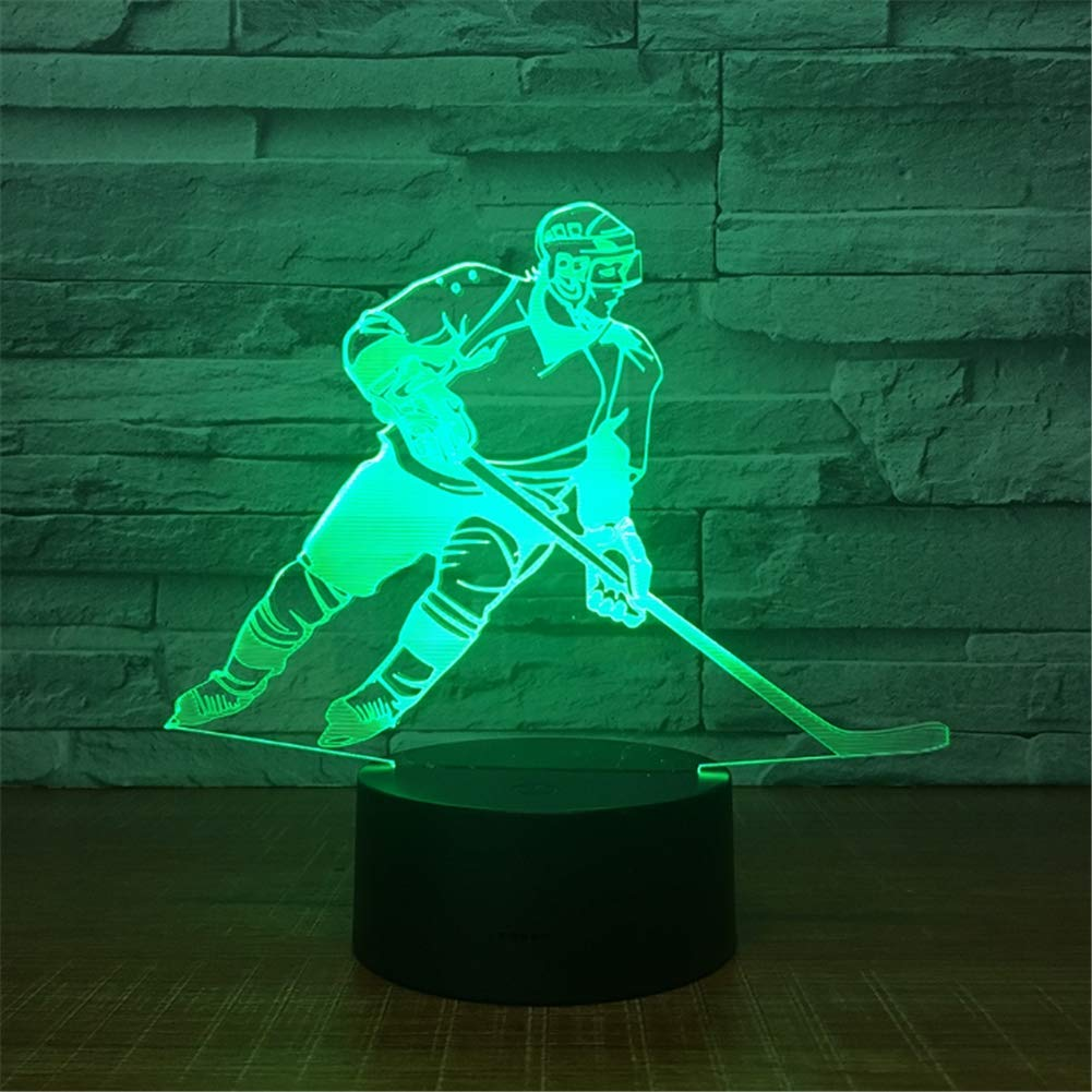 WBYD 3D Lamp LED Night Light Optical Illusion 7 Colour Changing USB Touch Button and Intelligent Remote Control Desk Table Lighting Nice Gift Home Office Decorations Toys(Playing Ice Hockey)