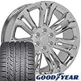 gmc sierra rims and tires - OE Wheels 22 Inch Fit Chevy Silverado Tahoe GMC Sierra Yukon Cadillac Escalade CV43 Chrome 22x9 Rims Goodyear Eagle All Season Tires Lugs TPMS Hollander 5666 SET