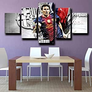 SDFFD Creative Gift 5 Panel Canvas Wall Art Canvas Prints 5 Pieces Modern Home Living Room Decor Bedroom Decor Fc Barcelona Forward La Plaga Lionel Messi Gray Hd Print Poster
