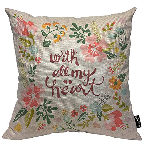 (Mugod with All My Heart Throw Pillow Case Quote Romantic Floral Flower Wreath Pink Green Cotton Linen Cushion Cover for Men Women Sofa Armchair Bedroom Livingroom 18x18 Inch)