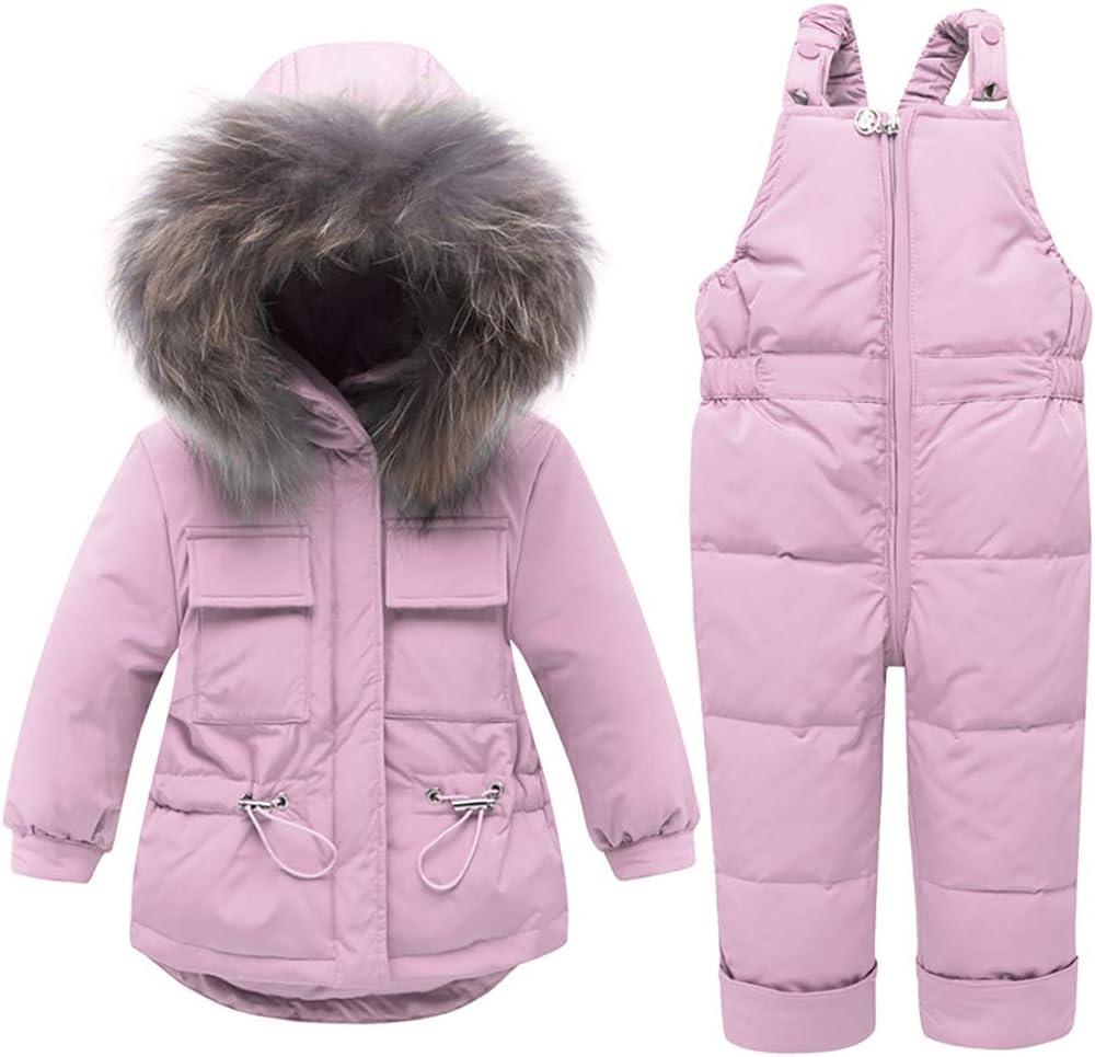 赤ちゃん 男の子 女の子 スノースーツ 幼児 冬 暖かい フード付き ダウンジャケット コート + ビブパンツ 2ピース アウトフィットセット Recommeded Age:18-24 Months