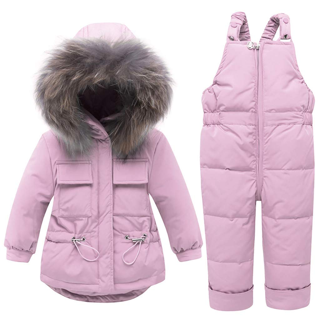 Yousity Newborn Infant Toddler Baby Boys Girls Winter Cute Thick Warm Hooded Down Jacket Coat+Ski Bib Pants Outfits Set Pink by Yousity Baby Clothes